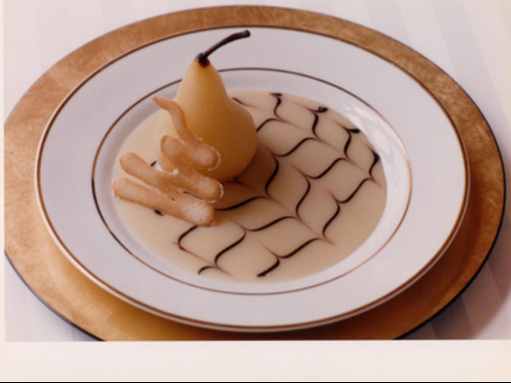 Pear Dessert With Chocolate Twirl